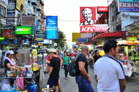 khaosan road in the evening at bangkok thailand