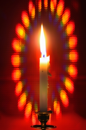 red bokeh background with candle Stock Photo - 20366097
