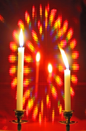 red bokeh background with candle Stock Photo - 20366100