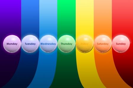 p�ldora durante siete d�as y siete colores Foto de archivo