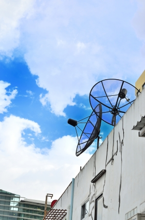 two satellite dish on the blue sky