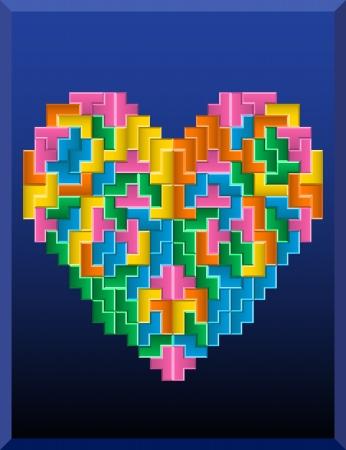 tetris: tetris heart on the blue background Illustration