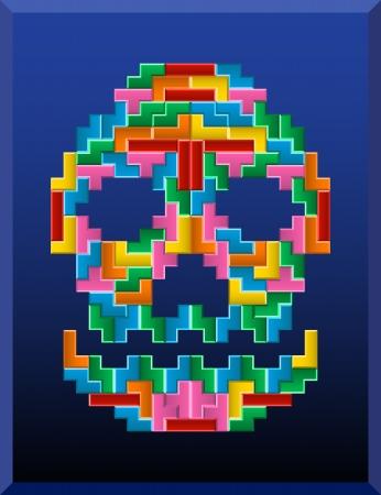 vecter: tetris skull on the blue background