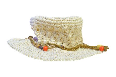women beach hat on isolate