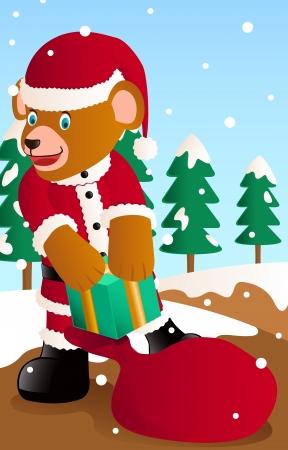pick up: ours p�re ramasser la bo�te-cadeau � partir de sac Illustration