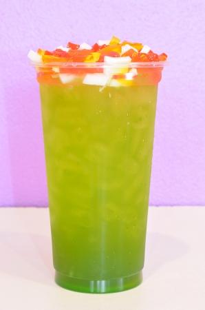 apple green tea in plastic cup
