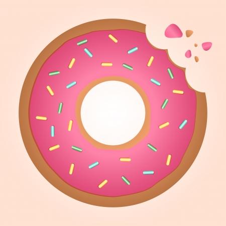 icing strawberry ring doughnut that has been bitten Vector