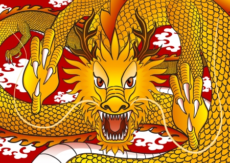 gold chinese dragon fly on the red sky Illustration