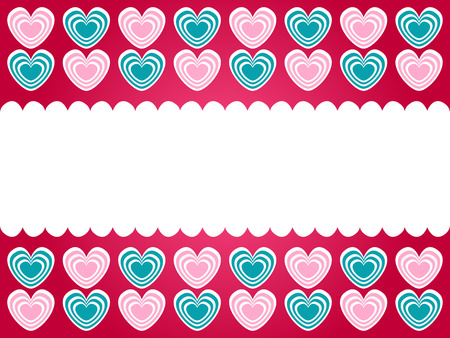 blank note: green and pink hearts frame with blank note