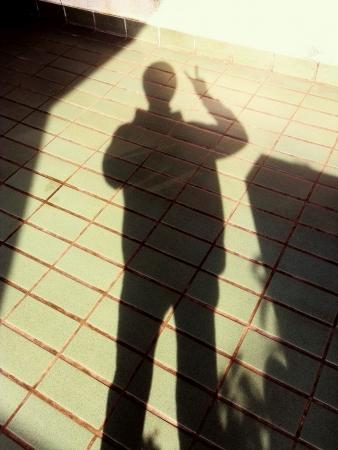 Sombra La gente hace la muestra de v