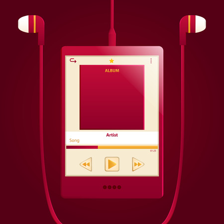 touch screen digital music player with earphone Vector