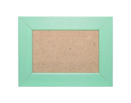 marco verde de la vendimia - estilo antiguo de madera aislada en el fondo blanco Foto de archivo