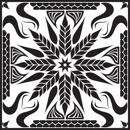 big black and white flower design for scarf and bandana Illustration
