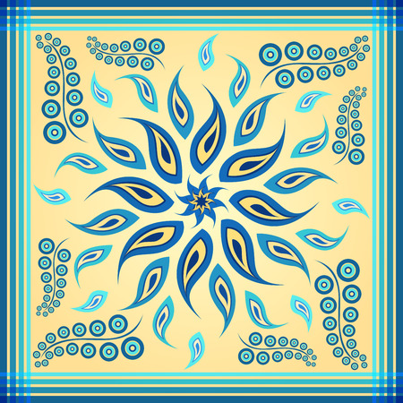 blue paisley rotate design for scarf and bandana Vector