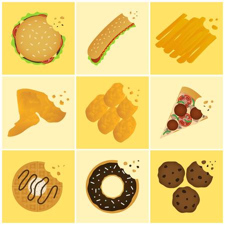 nine junk food bite off icon set Vector