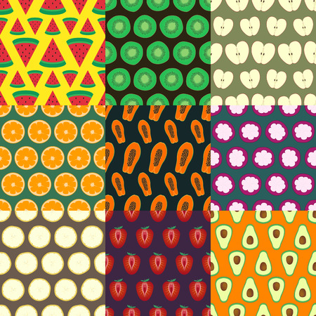 nine fruits cutting half seamless pattern Vector