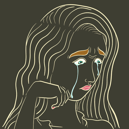 disconsolate: outline cry woman face on isolated background Illustration