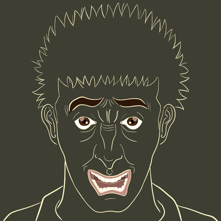 angry look: outline stress man face on isolated background Illustration
