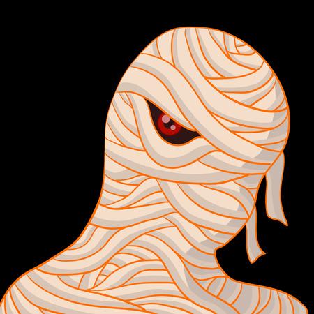 Retrato de la momia en el fondo negro para halloween