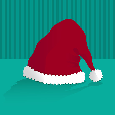 cappello natale: cappello di Natale su sfondo verde Vettoriali
