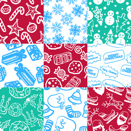 four colors variety christmas seamless pattern 1