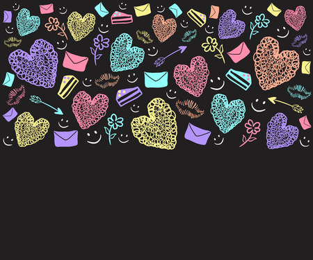 colorful heart: doodle colorful heart and thing about love background
