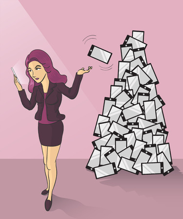 a businesswoman tossing her old smartphone to trash can Illustration