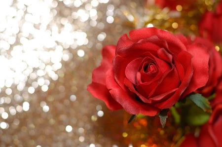 red rose bokeh: horizontal imitation red roses on bokeh background Stock Photo