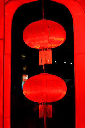 vertical two red chinese lantern on black  background