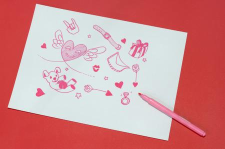 underlay: red paper underlay white paper love