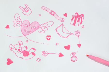 marker pen: paper love with pink marker pen