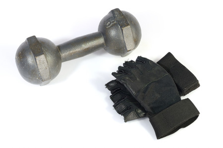 dumbbell and black glove on isolated background