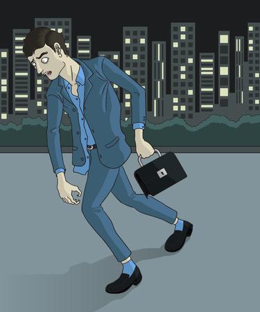 overwork: a businessman senseless walking back home