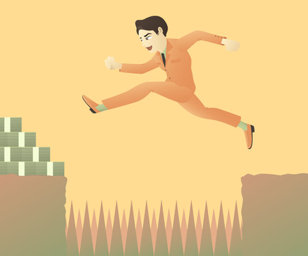 businessman jumping: a businessman jumping over objections
