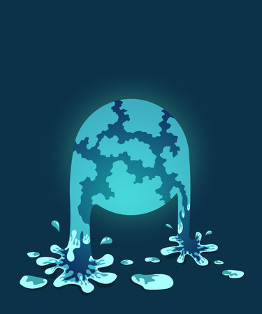 water fall: illustration of global flood, water fall style