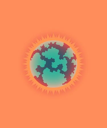 illustration of global warming, sun style Illustration