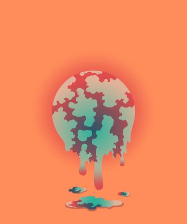 melt: illustration of global warming, melt style Illustration