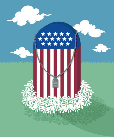 dogtag: american flag grave hook with military dog tag