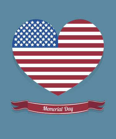 american flag with heart shape and red ribbon