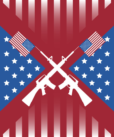 M16: m16 cross on american flag