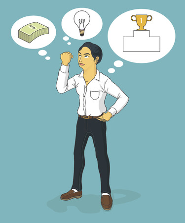 indecisive: business man thinking ideas, money and prize