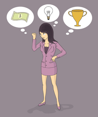 indecisive: business woman thinking ideas, money and prize