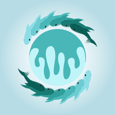 circulate: circulate green gradient fish logo and icon design Illustration