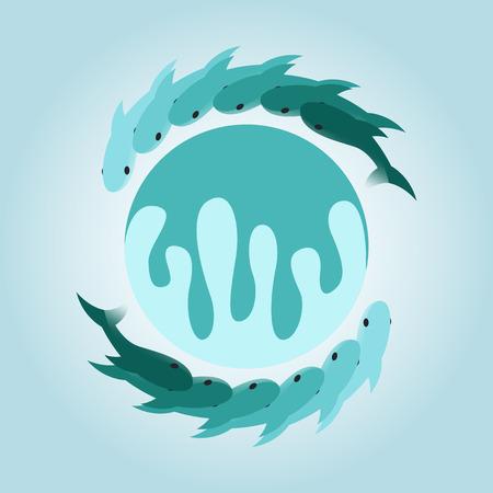 logo poisson: circuler logo vert de poisson de gradient et la conception de l'ic�ne Illustration