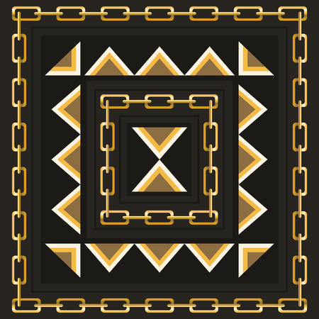 neckerchief: square ornamental pattern with golden chain and triangle . can use this pattern in design of bandana, neckerchief, scarf, shawl, and carpet