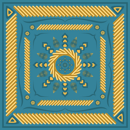 neckerchief: square ornamental pattern with golden strands. can use this pattern in design of bandana, neckerchief, scarf, shawl, and carpet