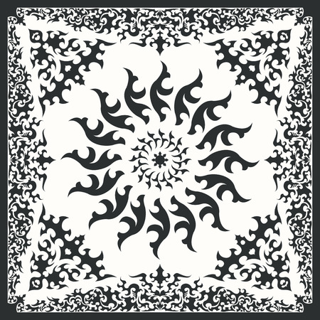 bandana: square ornamental pattern with black tribal. can use this pattern in design of bandana, neckerchief, scarf, shawl, and carpet Illustration