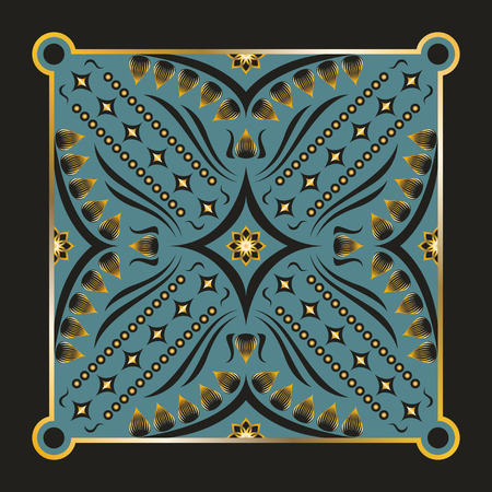 neckerchief: square ornamental pattern with golden lotus. can use this pattern in design of bandana, neckerchief, scarf, shawl, and carpet Illustration