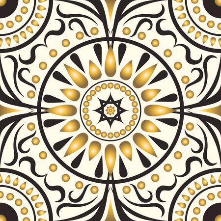 scarf: square ornamental pattern with golden petal radial. can use this pattern in design of bandana, neckerchief, scarf, shawl, and carpet
