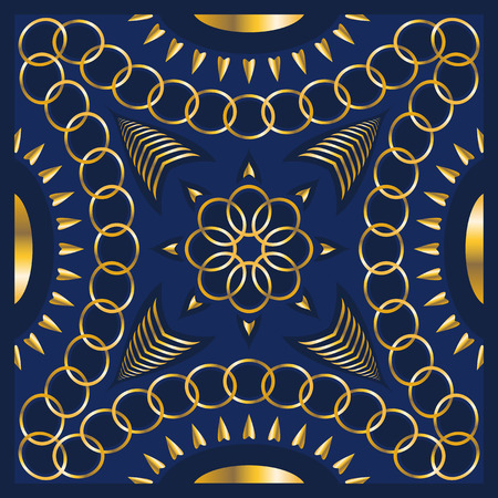 bandana: square ornamental pattern with golden chain. can use this pattern in design of bandana, neckerchief, scarf, shawl, and carpet